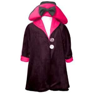 Black and Hot Pink Minky Reversible Coat & Hat Set Size 12M Baby
