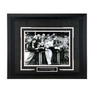 Framed Autographed Joe DiMaggio Signing for Crowd