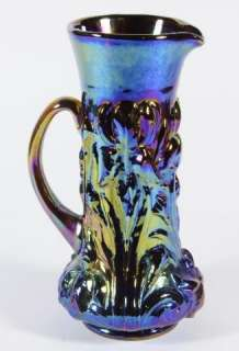 Gibson 1987 Repro Iridescent Electric Blue/Gold Carnival Glass Pitcher