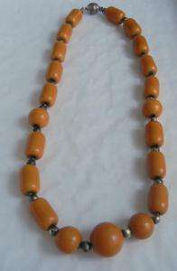 Antique Art Deco Egg Yolk Amber Barrel Necklace 38 Gram