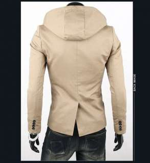 Mens Fashion Casual Slim Hoodie Suit Top Blazers Sport Coats Jacket M