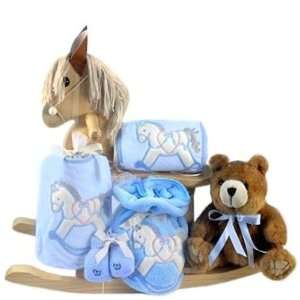 Pony Natural Finish Wooden Rocking Horse New Baby Boy Gift Set Baby