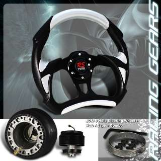 3000GT Impreza 320MM Black w/ Silver PVC Leather Racing Steering Wheel