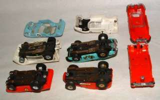 1960s AURORA TJET HO SCALE SLOT CAR LOT WITH CASE AND SEVERAL BODIES