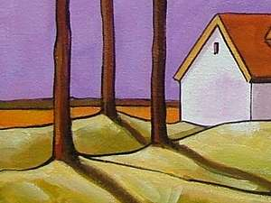 14x18 Purple Mountain Tree ORIGINAL ABSTRACT FOLK ART LANDSCAPE