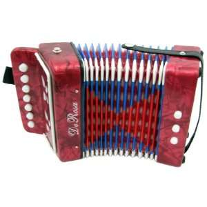 DeRosa Childrens Red 7 Key Toy Accordion Squeeze Box
