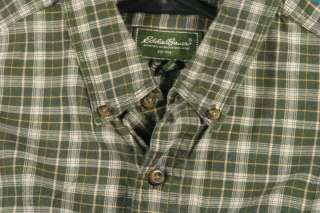 Eddie Bauer Size L Green Blue Beige Plaid Cotton Long Sleeve Shirt