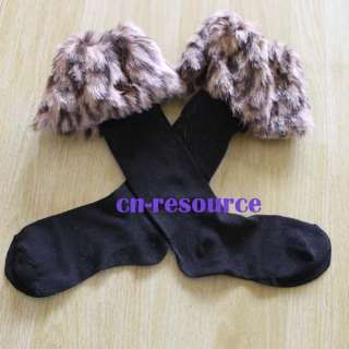 Sexy Warm Cotton Half Long Socks Faux Fur Cover Boot Shoes Stockings 4