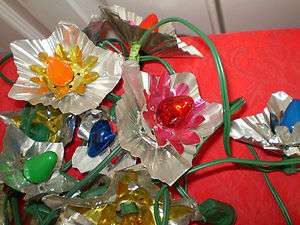 SETS VINTAGE STRING CHRISTMAS TREE LIGHTS W/FOIL REFLECTORS 22