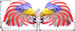 Two 7x9 Bald Eagle American Flag Car Truck USA Decal