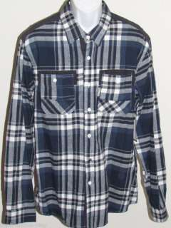 MARC ECKO New Mens Denim Blue Button Up Flannel Shirt