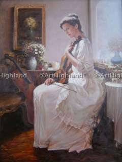 Vintage Portrait Oil Painting Canvas Signed Art Violin