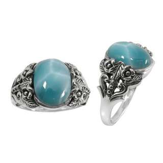 Exquisite LARIMAR Art Deco sterling silver 925 ring