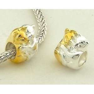 Cats 14k Gold Plated Charms/beads for Pandora, Biagi, Chamilia, Troll