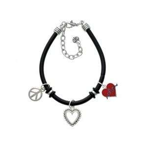 Red Heart with Rhythm Line Black Peace Love Charm Bracelet