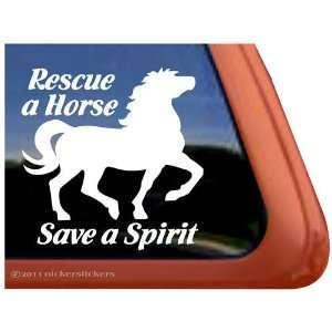 Rescue a Horse Save a Spirit Horse Trailer Vinyl Window