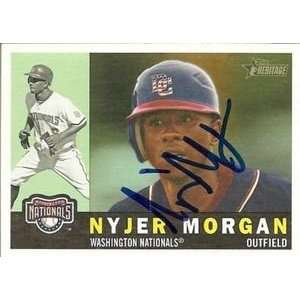 Nyjer Morgan Signed Nationals 2009 Topps Heritage Card