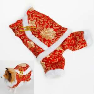 Pet Dog Chinese Style Coat Tang suit Costume Apparel Size