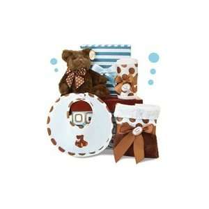 Posh Baby Boy Gift Set   5 Piece Blue & Brown Set w/ Gift Box Baby