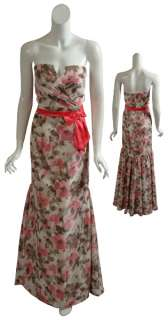 BADGLEY MISCHKA Strapless Floral Silk Gown Dress 10 NEW