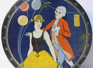 Antique Art Deco Lady & man Biscuit Tin1920s.