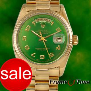 ROLEX President Day Date 18K Gold Green Arabic Watch