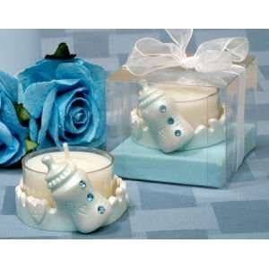 Blue Baby Bottle Candle Holder with Blue Crystals