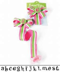 INITIAL Pink & Lime Green Pacifier Binky Clip/Holder   Mud Pie   NWT