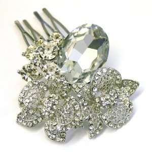 Bridal Wedding Beautiful Elegant Crystal Oval Stone Flowers Hair Comb
