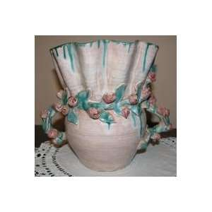 Kansan Mary Short Large Ruffled Applied Rose Vase Signed