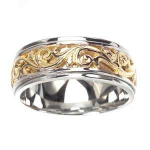 Mens 14k Two Toned Gold Elaborate Swirl Wedding Band (8