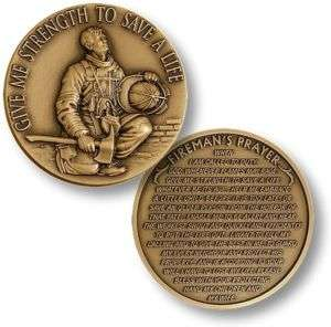 FIREFIGHTER IN PRAYER COIN FIREMANS PRAYER MEDAL NEW