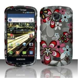 Blue Red Daisy Flower Design Rubberized Snap on Hard Skin