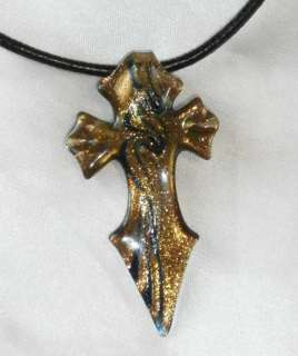Murano glass Gothic cross gold navy DMK designs leather mens jewelry