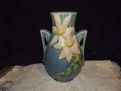 Roseville Pottery 108 8 Art Deco Blue Clematis Vase