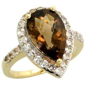 10k Gold Pear shaped Ring, w/ Brilliant Cut White Sapphire