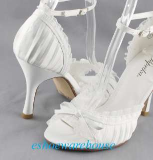 Cutie Sweet Pleated Peep Toe Lace Bow Pumps White Satin