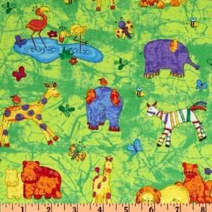 44 Wide Jungle Buzz Baby Jungle Animals Lime Fabric By