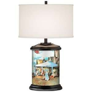 Seaside Walk Giclee Art Base Table Lamp