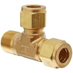 Parker A Lok 4MRT4N B Brass Compression Tube Fitting, Run Tee, 1/4