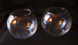 pair set of 2 clear glass round rose bowl vases
