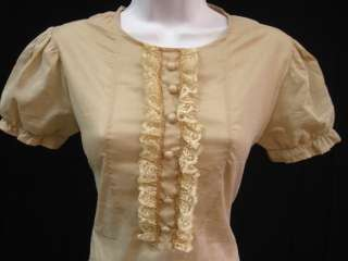 FRANNY Tan Lace Short Sleeve Shirt Top Sz S