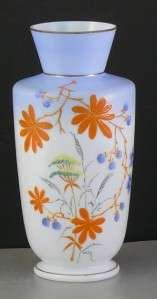 Antique Art Cased Glass Vase Enamel Painted Victorian Blue White Satin