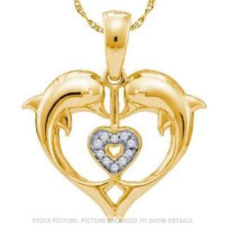 LADIES YELLOW GOLD DIAMOND DOLPHIN HEART FASHION PENDANT