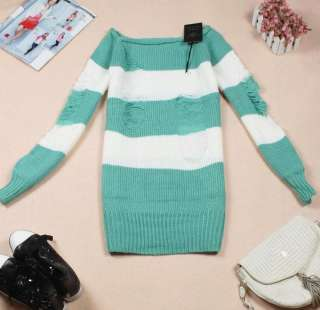 Mix color Women Boat Neck Stripe Hole Casual Sweater Knitwear Jumpers