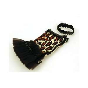 Red Carpet Leopard Print Dog Tutu with Sequin banded