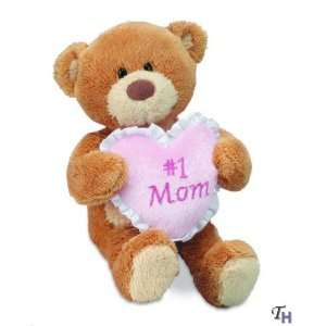 Mom I Love You Teddy Bear with Pink Heart Message Pillow 7