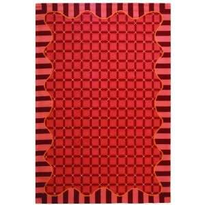 Collection Hand Hooked Red Wool Area Rug 2.60 x 4.00.