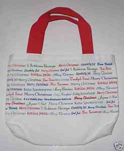 Gift Bag Merry Christmas in many languages on white