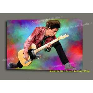 KEITH RICHARDS ROLLING STONES ORIGINAL MIXED MEDIA CANVAS PAINTING